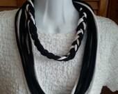 Recycled Half Braid Loop Scarf Black and White