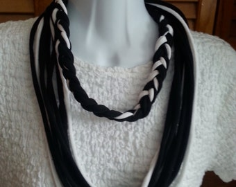 Recycled Half Braid Loop Scarf Black and White