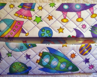 Space Ship Quilted Butipod Cover Diaper Wipes Case