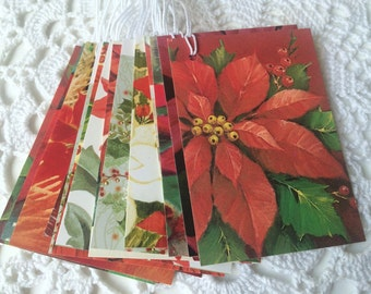 SALE - Christmas Tags, Poinsettia Gift Tags, Christmas Favor Labels, Holiday Gift Wrap, Winter Flowers, Upcycled Tags - Set of 14