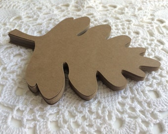 Kraft Oak Leaf, Wedding Escort Card, Fall Wedding Decor, Paper Die cuts - 5.5 Inch Set of 25