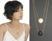 Sun and Moon Necklace, Layered Druzy Necklace, Chiarascuro, Polar opposite, day and night. 14k Gold Filled jewelry. NML-1225.