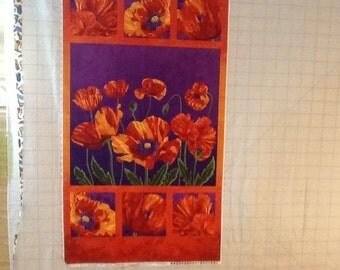 POPPY PASSION - Elaine Quehl for Northcott - 100% cotton fabric - Purple
