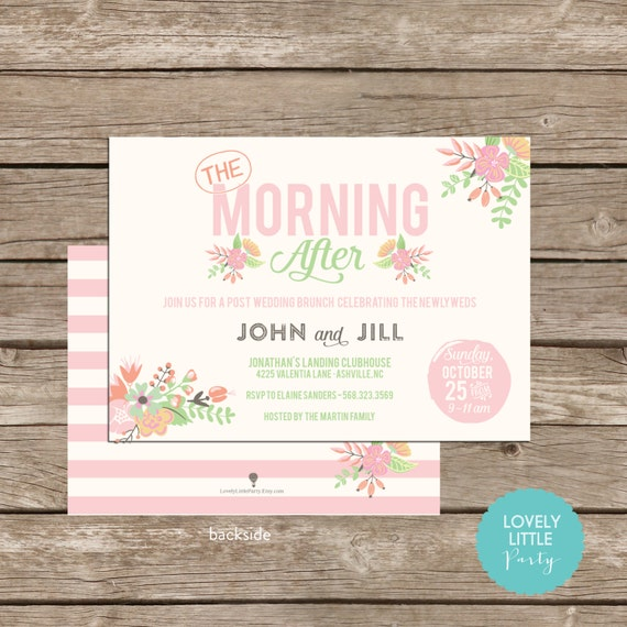 Classically Floral Post Wedding Breakfast Brunch Invitation DIY Printable -  Lovely Little Party