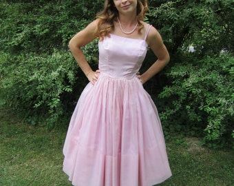 1950s Lilac Pink Party Dress 50s Simple Strapy Handmade Chiffon Prom Dress