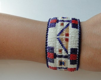 Antique White and Navy Blue with Red blocks and Gold Lodge Design, Gold Accents, Beaded Slap Bracelet