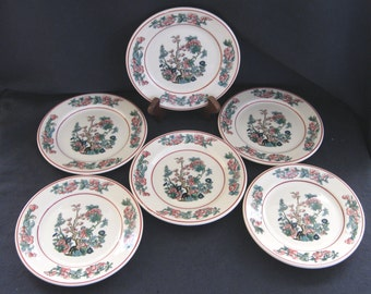 """Syracuse Restaurant Hotel China 6-1/2"""" Indian Tree Plates (Set of Six) Unusual Excellent Condition"""