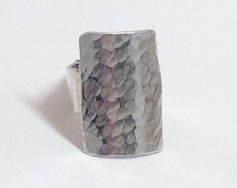 Hammered sterling silver statement ring