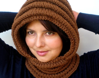Nut Brown Wave Chunky Knit Hood  Soft Mixed Wool Woman Hooded Scarf Cowl Fall Winter Accesories NEW