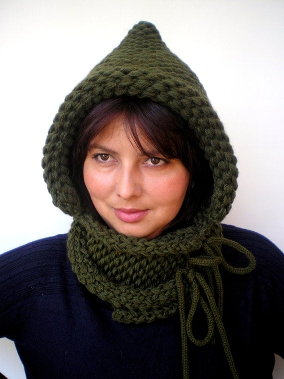 Double Spirit  Knit Hood Super soft Mixed   wool Woman  Hooded Cowl Military Green Chunky Hoodie