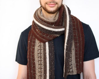The Traveler - Double-Sided Handmade Crochet Scarf in Reddish Brown and Raw Umber Luxury Tweed Merino, Super Long, Weather Resilient
