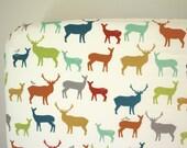 Organic Fitted Crib Sheet: Multi Color Elk Deer    by JuteBaby