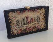 "Vintage elegant clutch evening purse needlepoint scenery 6""x4"""