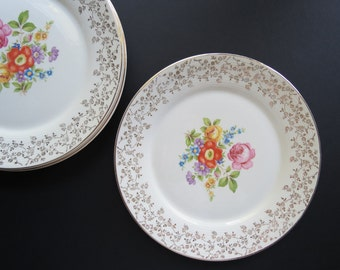 Vintage Triumph China Dinner Plates // Meissen Rose 22 K Gold Trim Floral China Dishes 1940's 1950's Formal Serving American Limoges