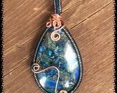 Sea Jasper Pendants Blue and Orange, copper wrapped