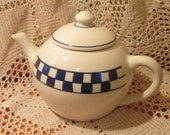 Vintage Blue and White Checked Hartstone Stoneware Tea Pot