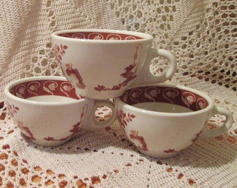 Lot of 3 Vintage Sterling China Restaurant Ware Coffee Cups with Oriental Pattern