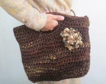 Wool Bag Autumn Crochet Bag thick wool Handbag Fiber in Rust and Brown Top Handle Bag