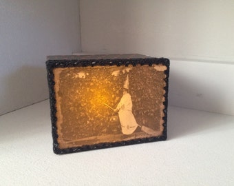 Halloween Light Box Ornament with vintage Photograph of a child dressed as a witch