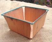 Wooden berry basket, vintage fruit punnet, mini storage container