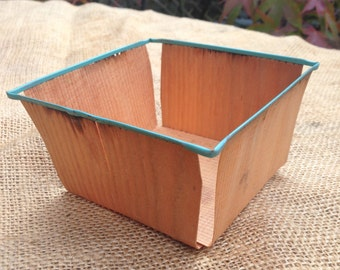 Wooden berry basket, vintage fruit punnet, mini storage container