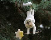 Christmas ornament, felted monkey, symbol of  2016, white needle felted monkey, Chinese zodiac