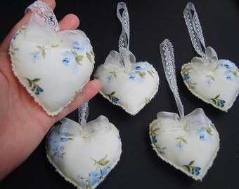 Hearts - set of 5, hanging decor, gift, party favour, home decor ,baby decor,fabric hearts,wedding,lace hearts,blue flowers,