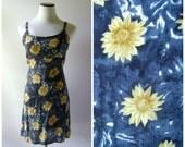 90s Daisy Grunge Dress Vintage Blue Gold Floral Print Mini Summer Babydoll Dresses Size S/M/L Flowy Rayon 1990s Hippie Boho Festival Tunic