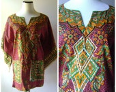 70s Dashiki Tunic Blouse Vintage Womens Hippie Boho Ethnic Print Mini Dress Size M/L Medium Large Tribal Pattern 1970s Bohemian Shirt Hippy