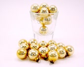 Gold Vintage Mercury Glass Feather Tree Christmas Ornaments Box Of 24