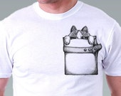 Pocket t shirt cat  tshirt Hipster Geek Cat Kitty Cat Shirt Pet Animal Art Men T-Shirt - White Tee S, M, L, XL, XXL