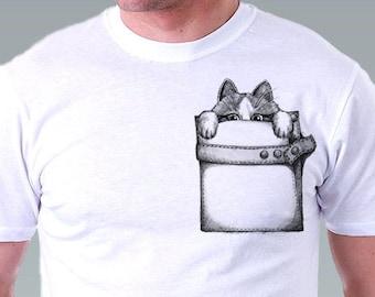 Pocket t shirt cat  tshirt Hipster Geek Cat Kitty Cat Shirt Pet Animal Art Men T-Shirt - White Tee S, M, L, XL, XXL