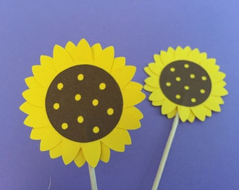 12   Sunflower toppers, Sunflower toppers,  sunflower flower cupcake toppers