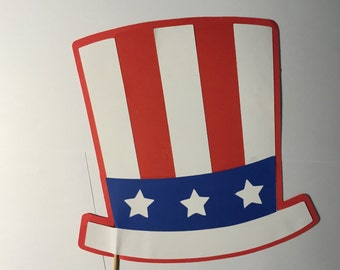 Patriot hat on a stick, party photo props, photo booth props,  red white and blue hat photo prop
