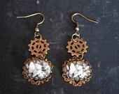 Steampunk Earrings, Steampunk Butterflies Jewelry, Steampunk Jewelry, Dangle Earrings, Gear Jewelry, Gear Earrings, Cameo Earrings,