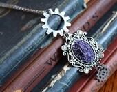 Steampunk Jewelry, Steampunk Cameo, Flower Cameo, Steampunk Necklace, Victorian Jewelry, Victorian Necklace, Edwardian Jewelry, Art Deco,