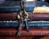Steampunk Jewelry, Steampunk Necklace, Steampunk Skeleton Key, Cross Jewelry, Charm Necklaces, Steampunk Charm Necklace, Key Jewelry, Tags
