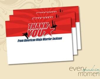 American Ninja Warrior Thank You -- American Ninja Warrior Birthday Party -- Ninja Warrior Birthday -- Thank You Note