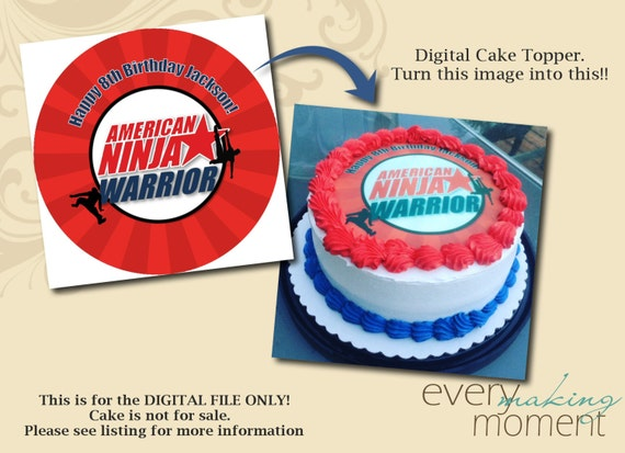 American Ninja Warrior Birthday Party Edible Cake Topper