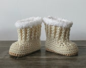 Baby Ugg Style Boots - Cream Baby Boots - Hand Crochet Baby Boots - Baby Girl Boots - Newborn Photo Prop
