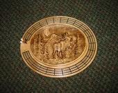 Elk Scene 3 track oval cribbage board with storage