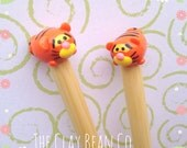 new bamboo knitting needles/ handmade polymer topper tiger