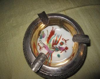 Ashtray Vintage Silver Porcelain Vietnam