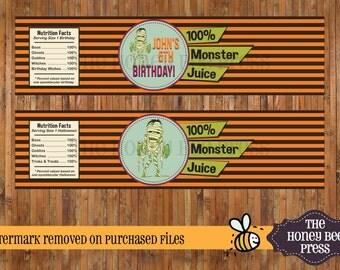 Halloween Water Bottle Labels - 100% Monster Juice - Halloween Birthday - Water Bottle Labels - DIGITAL FILES