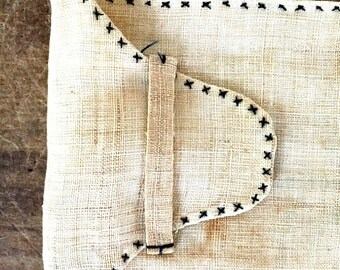 French antique hand Embroidery napkin saver pocket