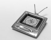 ON HOLD for PAT tv necklace Tune In  sterling silver television photo pendant . quirky . fun