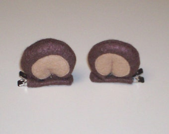 3D Brown Bear Ears Hair Clips