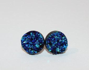 Blue/green druzy style stud earrings