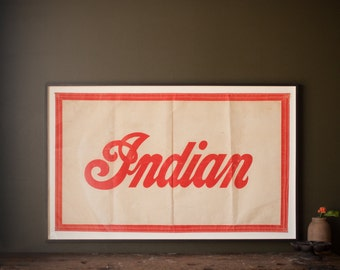 Vintage Sign / 1940's / Original Cloth Indian Motorcycle Banner / Framed Indian Canvas Flag / Vintage Motorcycle Advertising / Indian Sign