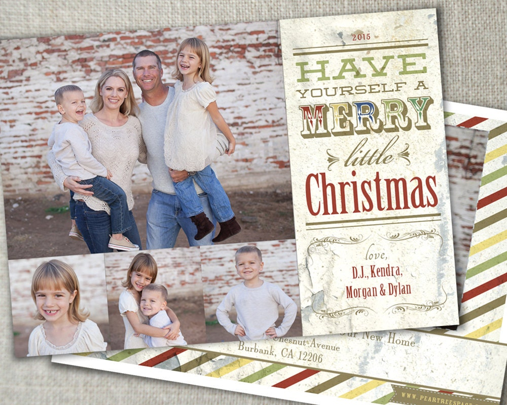 Shabby chic christmas photo card country by peartreespace for Country chic christmas